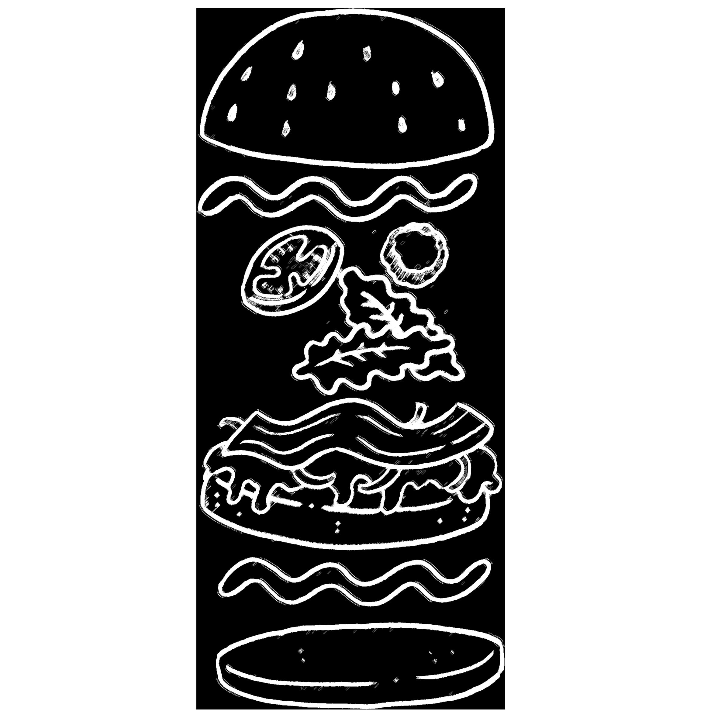 Hamburger in krijt stijl